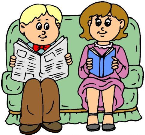 мъж, жена, вестник, книга, диван