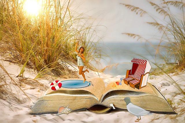 книга, басейн, плаж