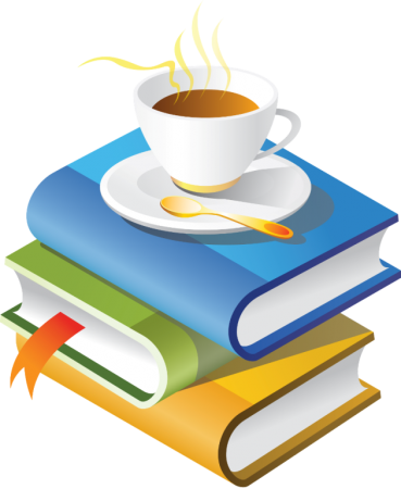 книги, чаша кафе